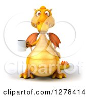 Clipart Of A 3d Yellow Dragon Holding A Coffee Mug Royalty Free Illustration