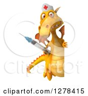 Clipart Of A 3d Full Length Yellow Dragon Nurse Holding A Vaccine Syringe Around A Sign Royalty Free Illustration