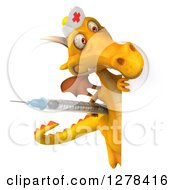 Clipart Of A 3d Yellow Dragon Nurse Holding A Vaccine Syringe Around A Sign Royalty Free Illustration