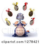 Clipart Of A 3d Purple Dragon Juggling Chocolate Eggs Royalty Free Illustration