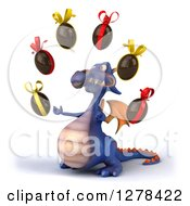 Clipart Of A 3d Purple Dragon Facing Left And Juggling Chocolate Eggs Royalty Free Illustration