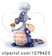 Clipart Of A 3d Purple Dragon Chef Facing Left And Holding French Fries Royalty Free Illustration