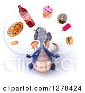 Clipart Of A 3d Purple Dragon Looking Up And Juggling Junk Food Royalty Free Illustration