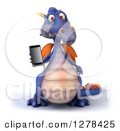 Clipart Of A 3d Purple Dragon Holding Out A Smart Phone Royalty Free Illustration