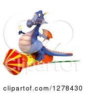 Clipart Of A 3d Purple Dragon Riding On A Rocket With Champagne Royalty Free Illustration by Julos