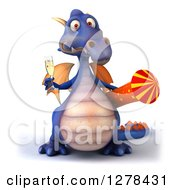 Clipart Of A 3d Purple Dragon Holding A Rocket And Champagne Royalty Free Illustration by Julos