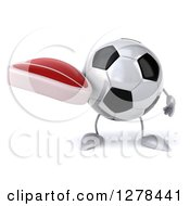 Clipart Of A 3d Soccer Ball Character Holding A Beef Steak Royalty Free Illustration