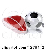 Clipart Of A 3d Soccer Ball Character Holding Up A Beef Steak Royalty Free Illustration