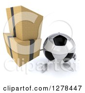 Clipart Of A 3d Soccer Ball Character Holding Up Boxes Royalty Free Illustration