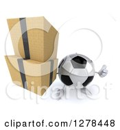 Clipart Of A 3d Soccer Ball Character Holding Up A Thumb And Boxes Royalty Free Illustration