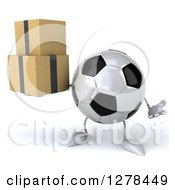 Clipart Of A 3d Soccer Ball Character Shrugging And Holding Boxes Royalty Free Illustration
