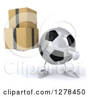 Clipart Of A 3d Soccer Ball Character Holding And Pointing To Boxes Royalty Free Illustration