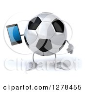 Clipart Of A 3d Soccer Ball Character Holding A Smart Phone Royalty Free Illustration