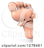 Clipart Of A 3d Unhappy Foot Character Pointing Around A Sign Royalty Free Illustration by Julos