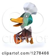 Clipart Of A 3d Mallard Duck Chef Flying Left And Playing A Guitar Royalty Free Illustration