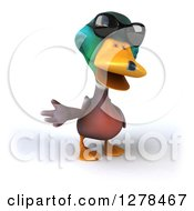 Clipart Of A 3d Mallard Drake Duck Wearing Sunglasses And Gesturing To The Left Royalty Free Illustration