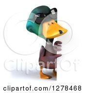 Clipart Of A 3d Mallard Drake Duck Wearing Sunglasses And Pointing Around A Sign Royalty Free Illustration