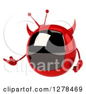 Clipart Of A 3d Evil Devil Tv Presenting To The Left Royalty Free Illustration by Julos