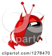 Clipart Of A 3d Evil Devil Tv Facing Right And Pouting Royalty Free Illustration by Julos
