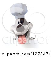 3d Jack Russell Terrier Dog Chef Panting Over A Sign