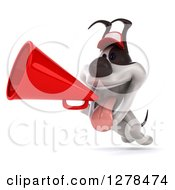 Clipart Of A 3d Happy Jack Russell Terrier Dog Wearing A Baseball Cap And Running With A Megaphone Royalty Free Illustration