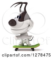 Clipart Of A 3d Happy Skateboarding Jack Russell Terrier Dog Royalty Free Illustration