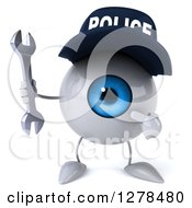 Clipart Of A 3d Blue Police Eyeball Character Holding And Pointing To A Wrench Royalty Free Illustration