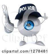 Clipart Of A 3d Blue Police Eyeball Character Holding Up A Finger And A Key Royalty Free Illustration