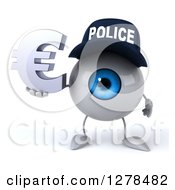 Clipart Of A 3d Blue Police Eyeball Character Holding A Euro Symbol Royalty Free Illustration