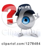 Clipart Of A 3d Blue Police Eyeball Character Holding Up A Finger And A Question Mark Royalty Free Illustration