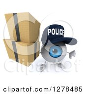 Clipart Of A 3d Blue Police Eyeball Character Holding A Thumb Down And Up Boxes Royalty Free Illustration