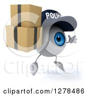 Clipart Of A 3d Blue Police Eyeball Character Facing Right Jumping And Holding Boxes Royalty Free Illustration