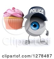 Clipart Of A 3d Blue Police Eyeball Character Holding A Pink Frosted Cupcake Royalty Free Illustration