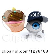 Clipart Of A 3d Blue Police Eyeball Character Holding Up A Chocolate Frosted Cupcake Royalty Free Illustration