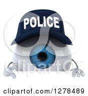 Clipart Of A 3d Blue Police Eyeball Character Pointing Down Over A Sign Royalty Free Illustration
