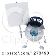 Clipart Of A 3d Blue Police Eyeball Character Holding A Blank Sign Royalty Free Illustration