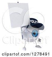 Clipart Of A 3d Blue Police Eyeball Character Facing Slightly Right And Holding A Blank Sign Royalty Free Illustration