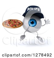 Clipart Of A 3d Blue Police Eyeball Character Jumping And Holding A Pizza Royalty Free Illustration