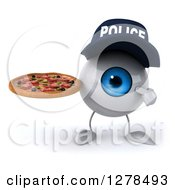 Clipart Of A 3d Blue Police Eyeball Character Holding And Pointing To A Pizza Royalty Free Illustration
