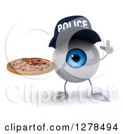 Clipart Of A 3d Blue Police Eyeball Character Holding Up A Finger And A Pizza Royalty Free Illustration