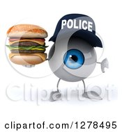 Clipart Of A 3d Blue Police Eyeball Character Holding A Thumb Down And Double Cheeseburger Royalty Free Illustration
