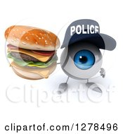 Clipart Of A 3d Blue Police Eyeball Character Holding Up A Double Cheeseburger Royalty Free Illustration