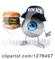 Clipart Of A 3d Blue Police Eyeball Character Shrugging And Holding A Double Cheeseburger Royalty Free Illustration