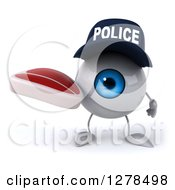 Clipart Of A 3d Blue Police Eyeball Character Holding A Beef Steak Royalty Free Illustration