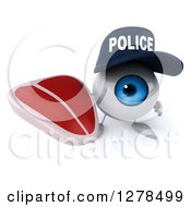 Clipart Of A 3d Blue Police Eyeball Character Holding Up A Beef Steak Royalty Free Illustration