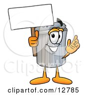 Clipart Picture Of A Garbage Can Mascot Cartoon Character Holding A Blank Sign