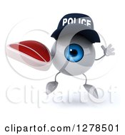 Clipart Of A 3d Blue Police Eyeball Character Jumping And Holding A Beef Steak Royalty Free Illustration