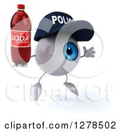 Clipart Of A 3d Blue Police Eyeball Character Facing Right Jumping And Holding A Soda Bottle Royalty Free Illustration