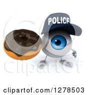 Clipart Of A 3d Blue Police Eyeball Character Holding Up A Chocolate Frosted Donut Royalty Free Illustration