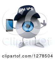 Clipart Of A 3d Blue Police Eyeball Character Holding Up A Finger And A Smart Phone Royalty Free Illustration